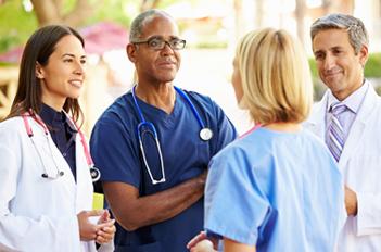 Hospital staff talking